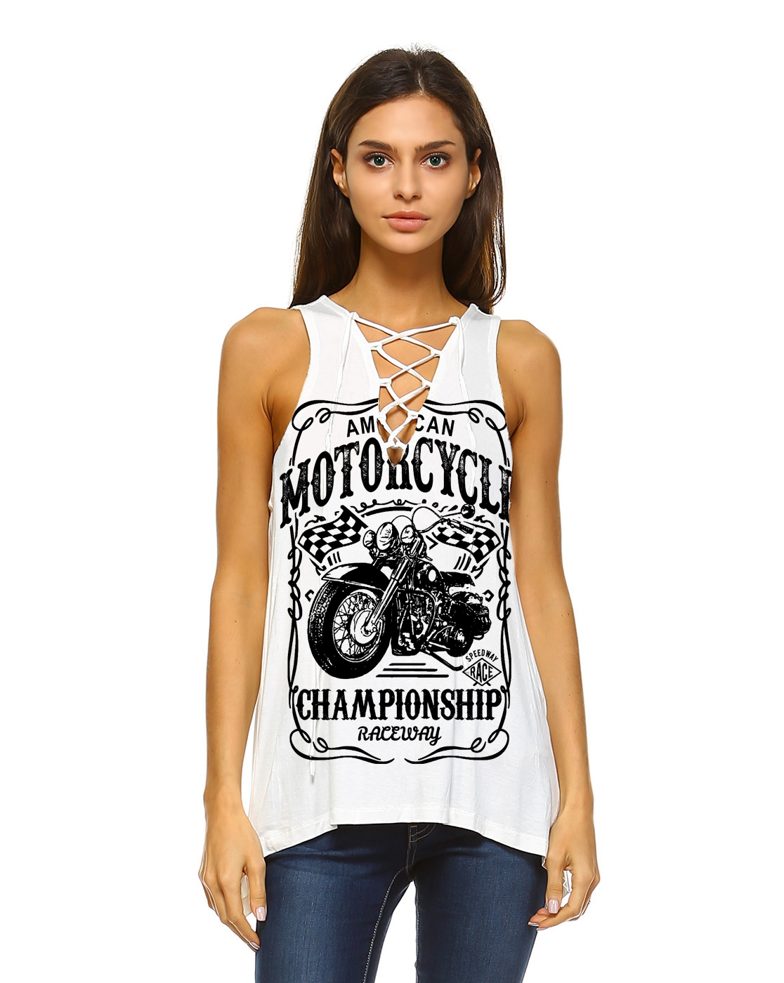 Championship urban lace up tank top  - orangeshine.com