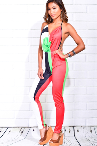 JUMPSUIT HALTER NECK LIME BLACK - orangeshine.com