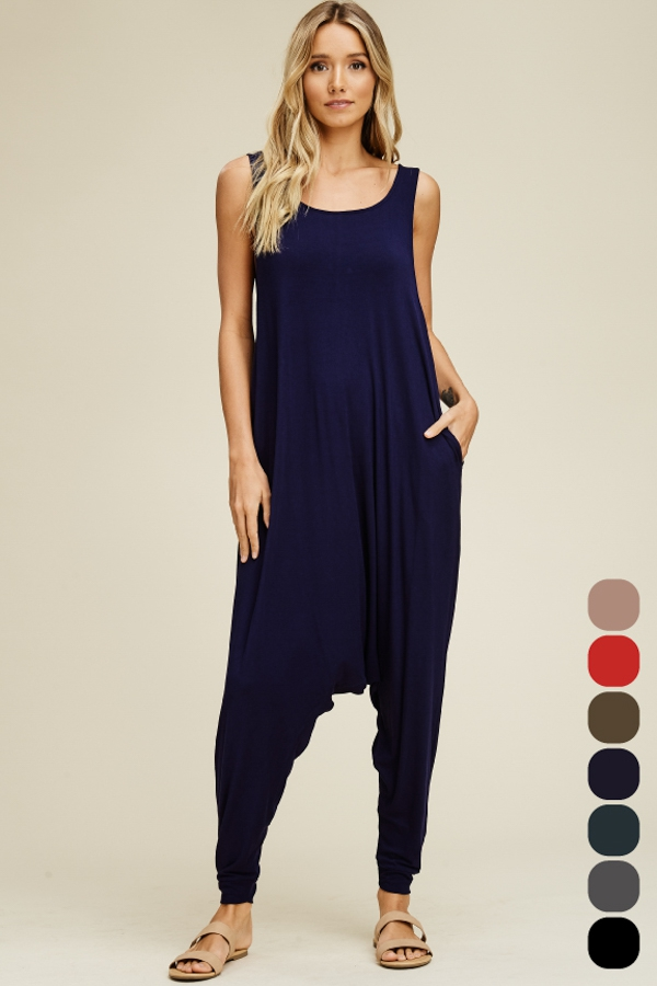 Round Neck One-Piece Jumpsuit - orangeshine.com