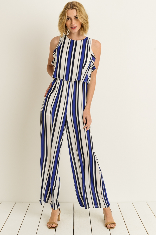 Striped Ruffle Jumpsuit - orangeshine.com