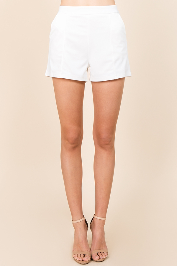 SHORT PANTS SOLID ELASTIC WHITE - orangeshine.com