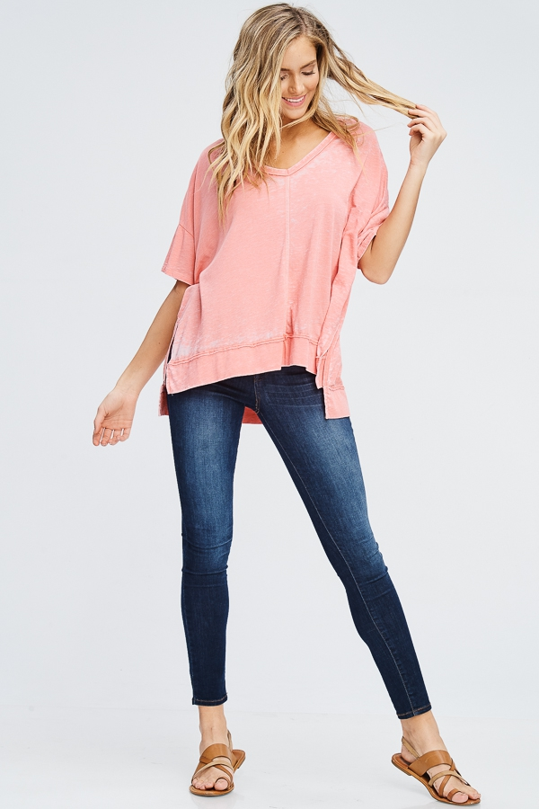 BURNOUT SIDE SLIT TEE - orangeshine.com