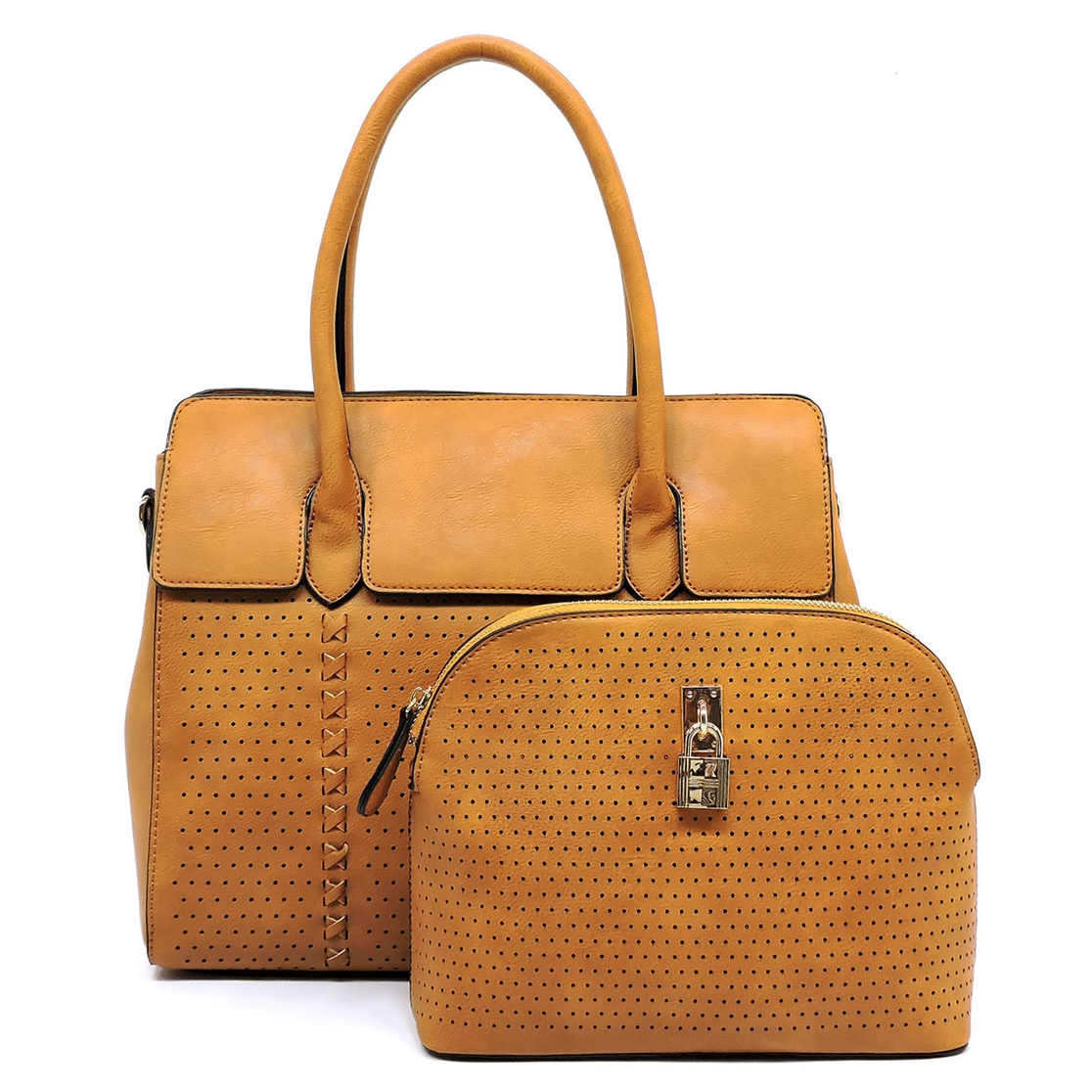Laser Perforated 2-in-1 Satchel - orangeshine.com