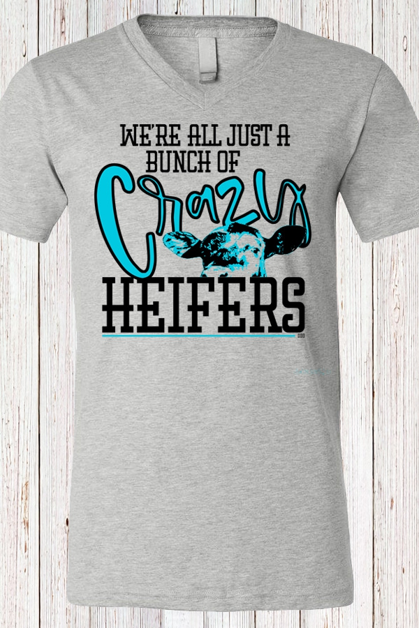 Crazy Heifers V Neck Tee - orangeshine.com