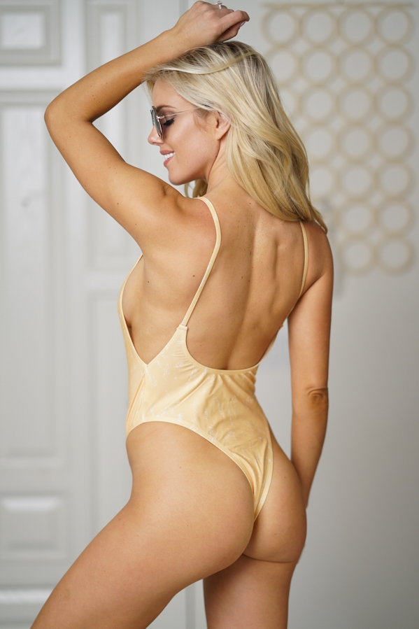 monokini swimsuit scoop neck yellow - orangeshine.com