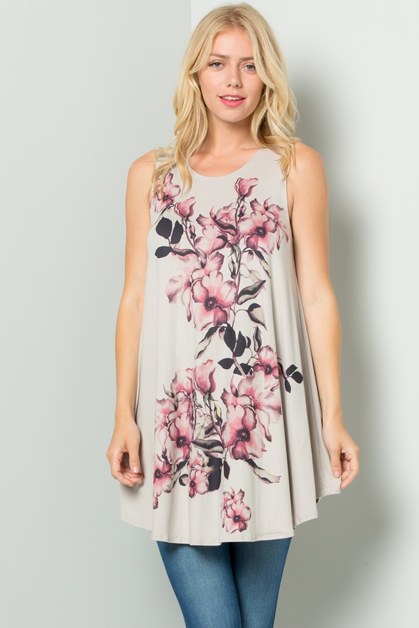 Floral Sublimation Tunic Dress  - orangeshine.com