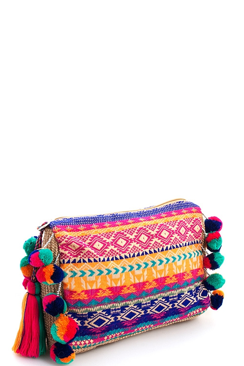 Fashion Multi Woven Natural Clutch - orangeshine.com