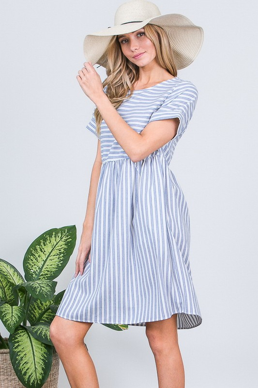 STRIPE POCKET DRESS - orangeshine.com