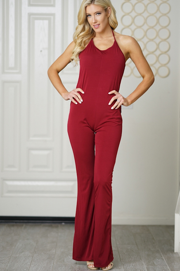 jumpsuit mini tieup sleeveless wine - orangeshine.com