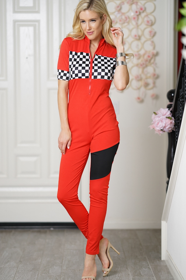 short sleeve plaid pattern jumpsuit  - orangeshine.com