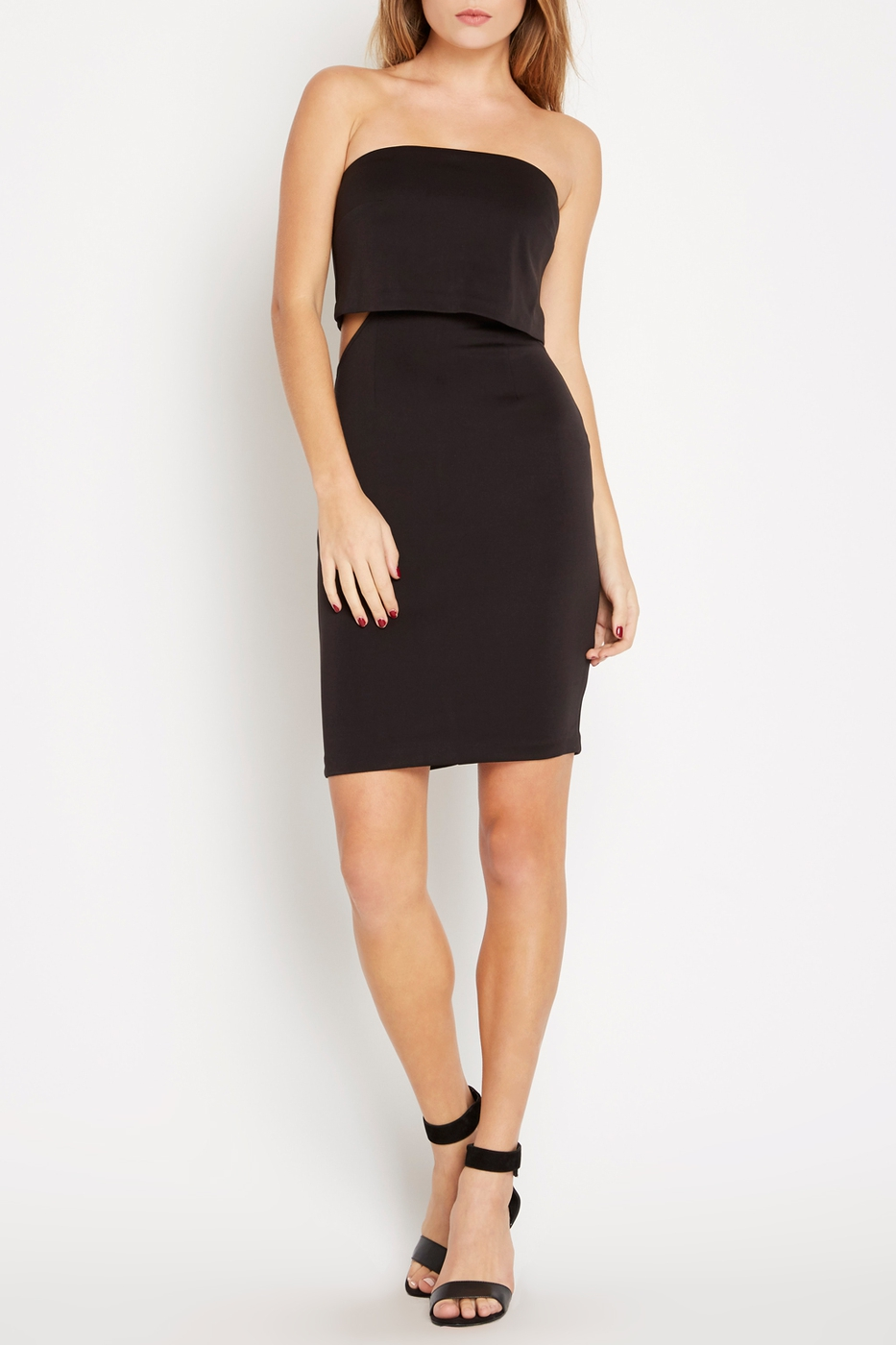 Side Cutout Strapless Bandeau Dress - orangeshine.com