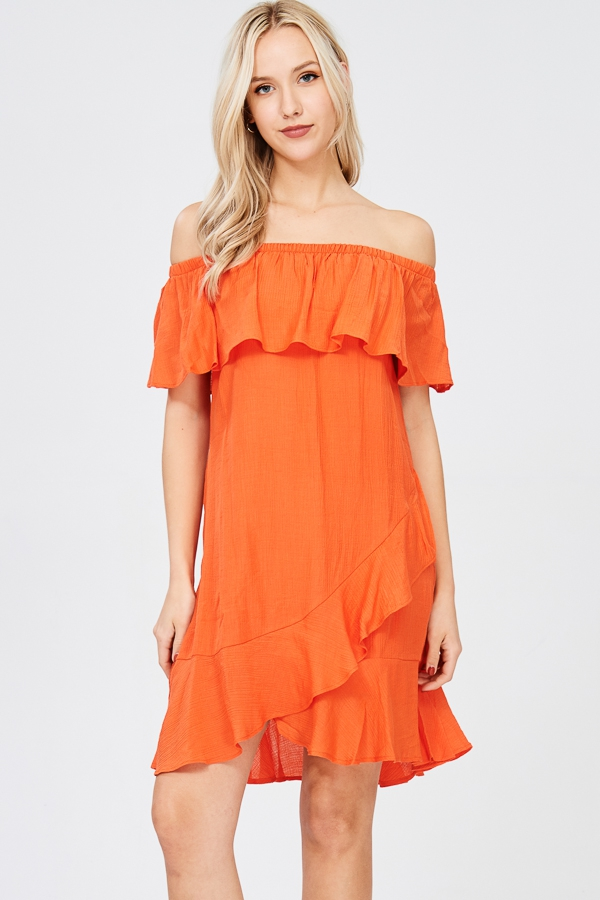 tulip overlay ruffle hem dress - orangeshine.com