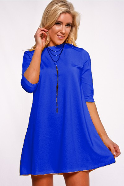 Quarter Sleeve Scoop Neckline Dress - orangeshine.com