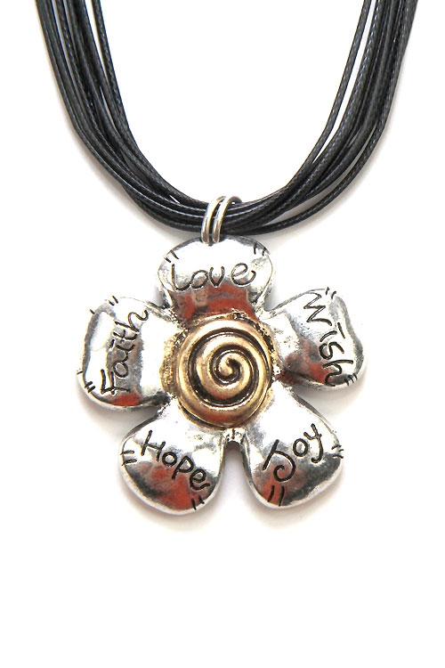 Multi String Flower Pendant Necklace - orangeshine.com
