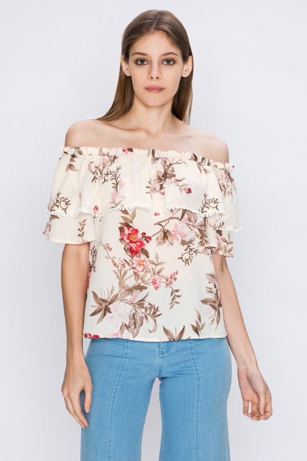 OFF THE SHOULDER FLORAL PRINT - orangeshine.com