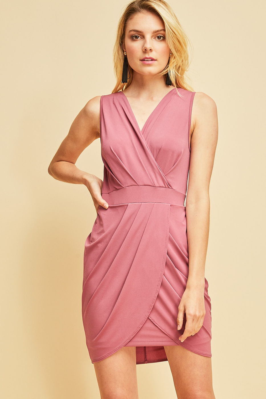 Surplice v-neck dress - orangeshine.com