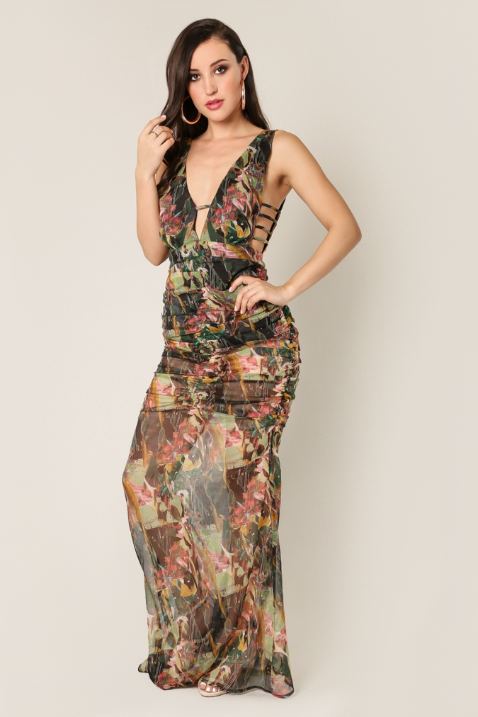 Strappy Sided Printed Maxi Dress - orangeshine.com