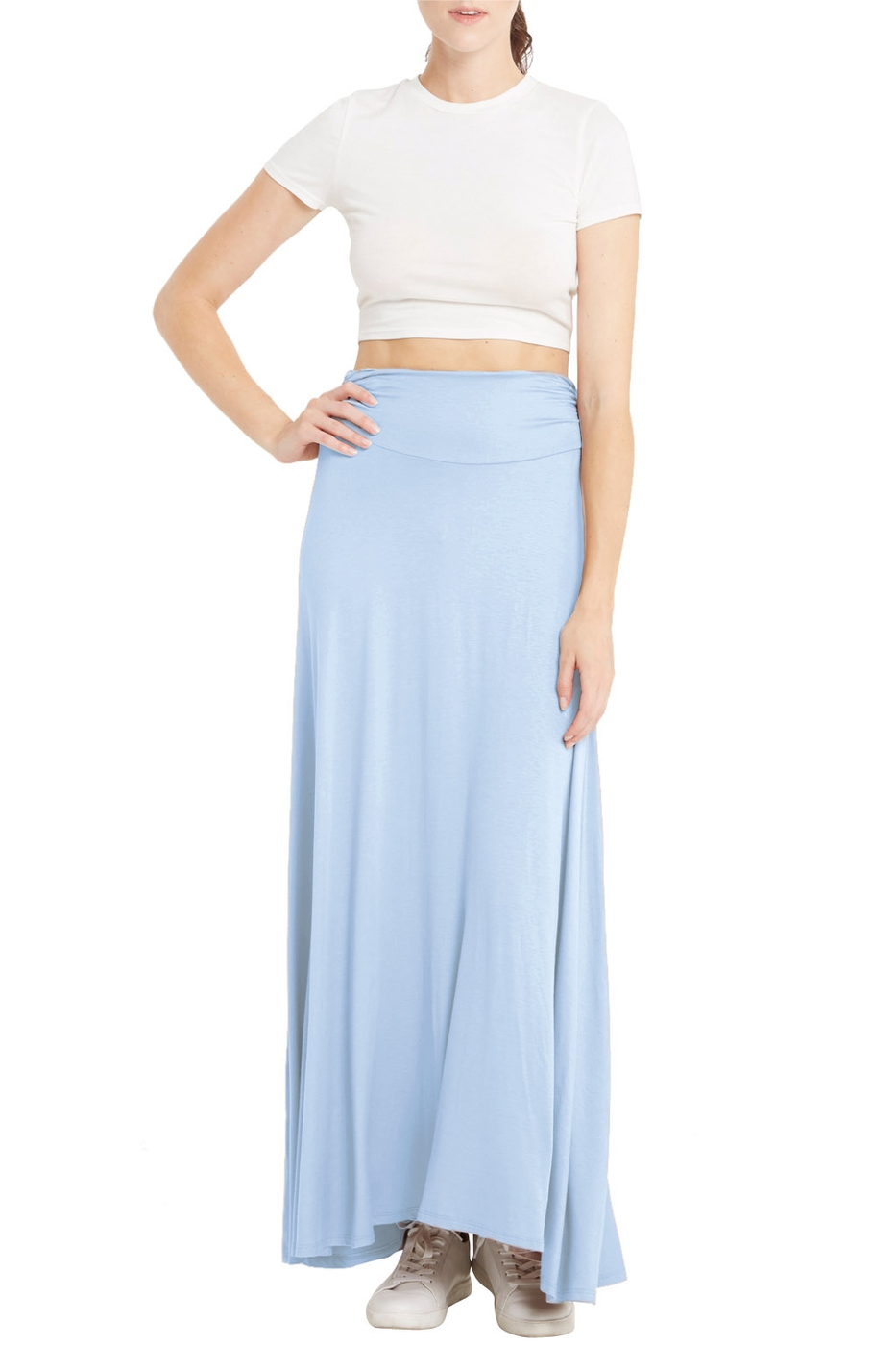 Solid Maxi Skirt with a widened hem  - orangeshine.com