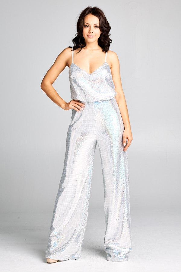 Silver Fashion Jumpsuit - orangeshine.com