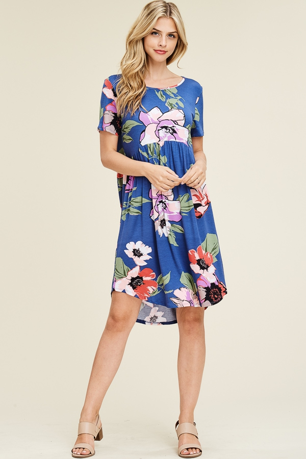 FLORAL MIDI DRESS PLEATED FRONT - orangeshine.com