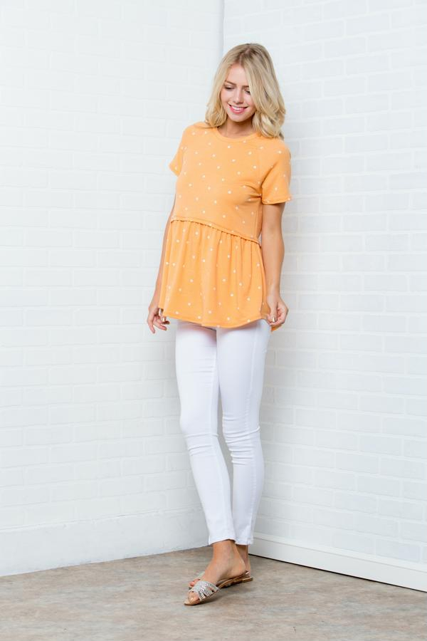 Polka Dot Short Sleeves Top - orangeshine.com