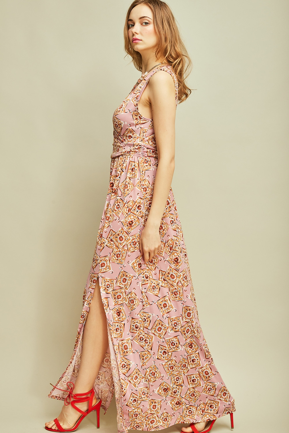 Abstract print maxi dress - orangeshine.com