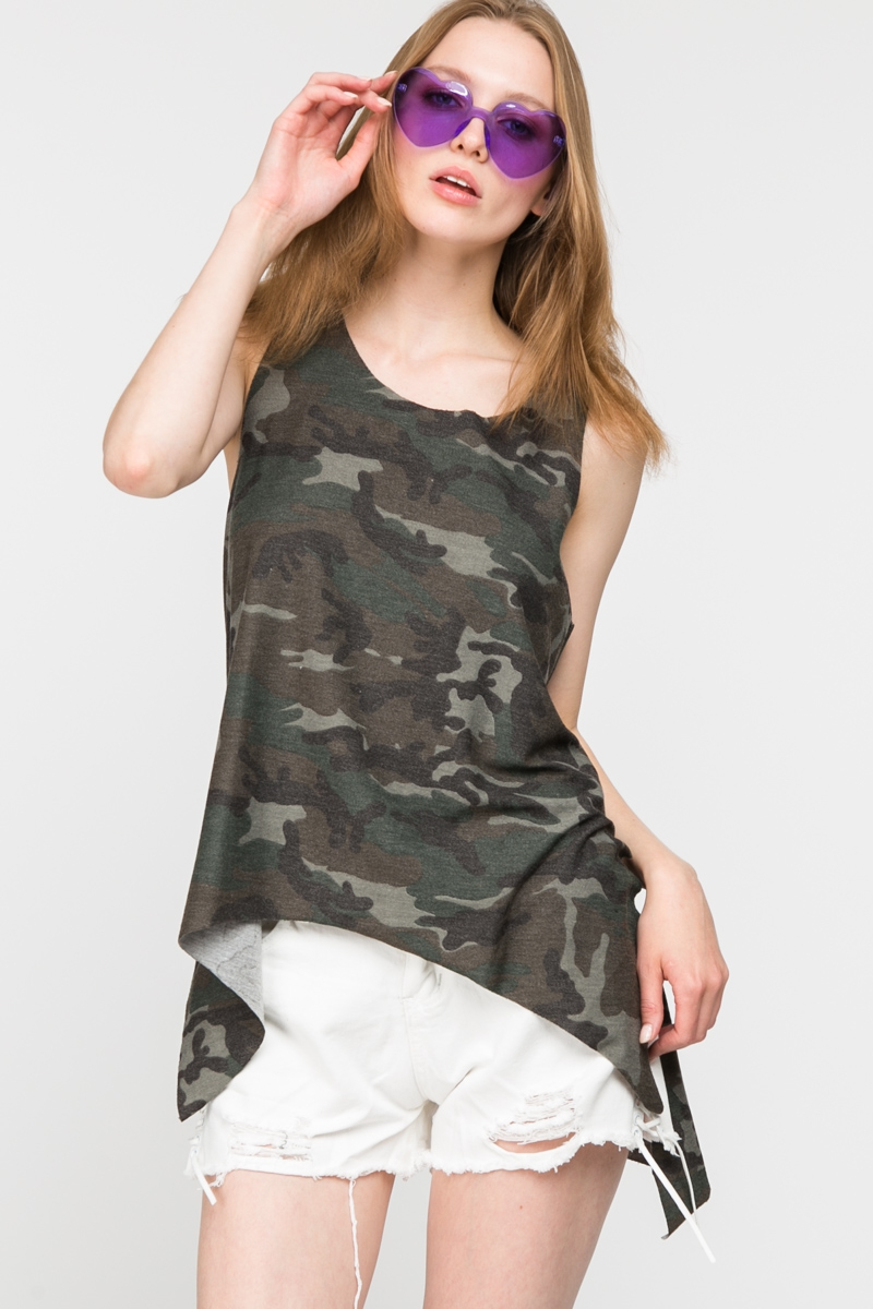 CAMO PRINT LOOSE FIT TANK WITH SIDE  - orangeshine.com