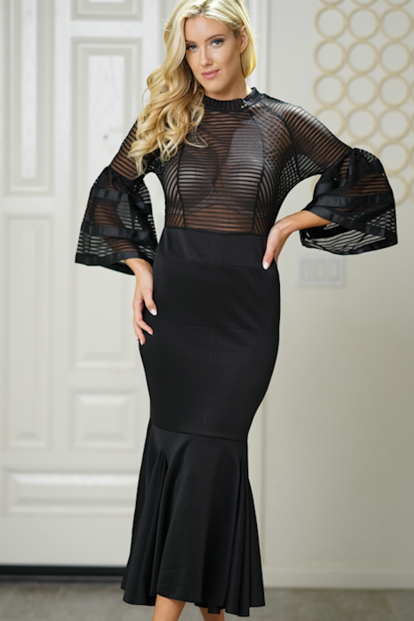 maxi dress mesh top bodycon mermaid  - orangeshine.com