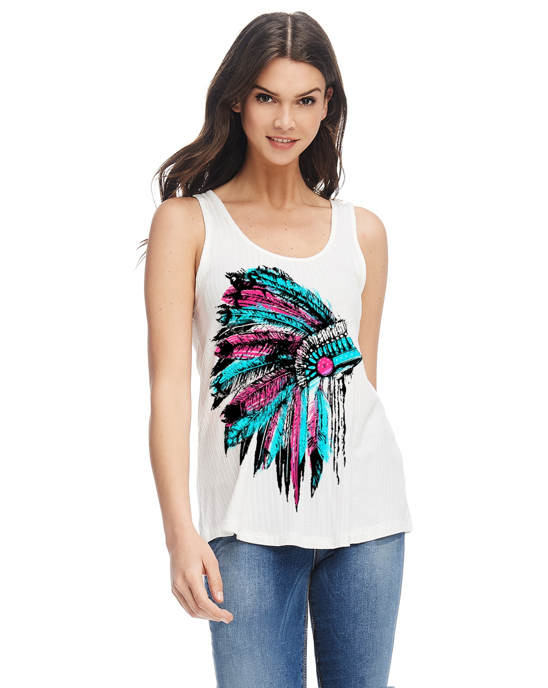 Feather urban graphic Scoop tank top - orangeshine.com