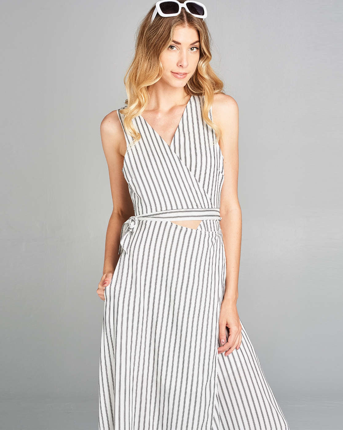 Striped Wrapped Dress - orangeshine.com