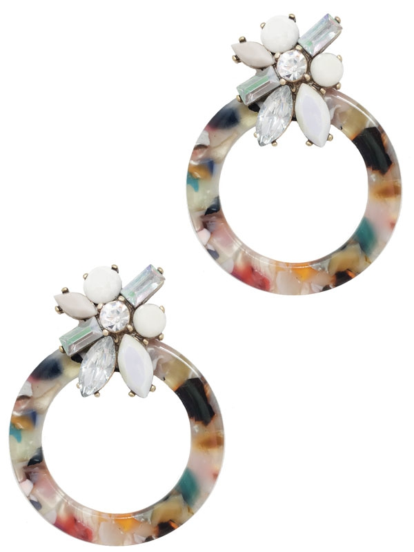 ACETATE CRYSTAL CIRCLE DANGLE EARRIN - orangeshine.com