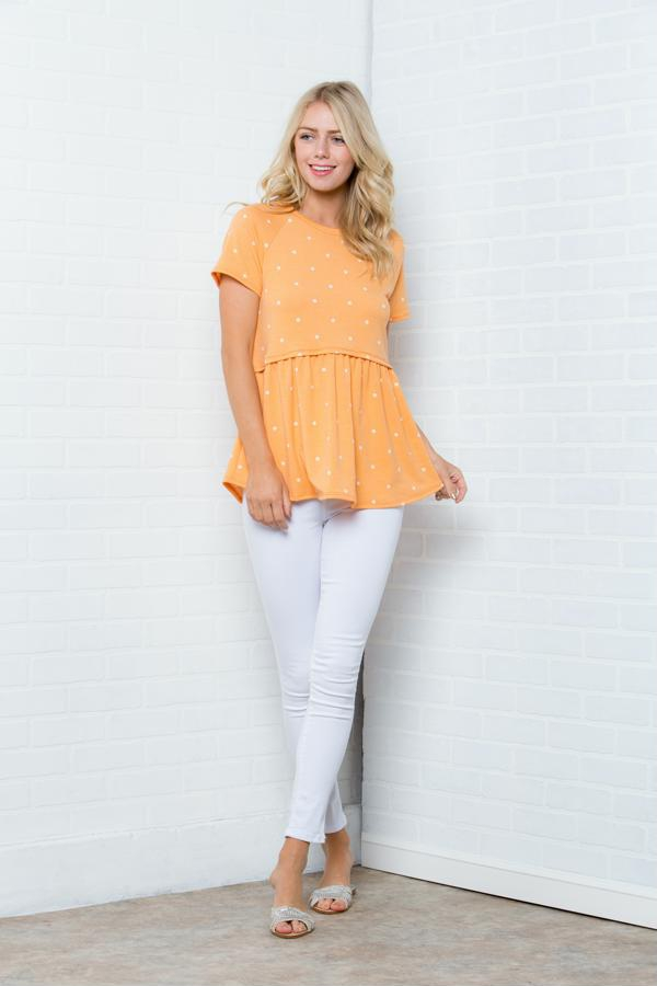 Polka Dot Short Sleeves Top Plus - orangeshine.com