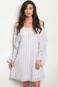 WHITE BROWN STRIPES DRESS - orangeshine.com