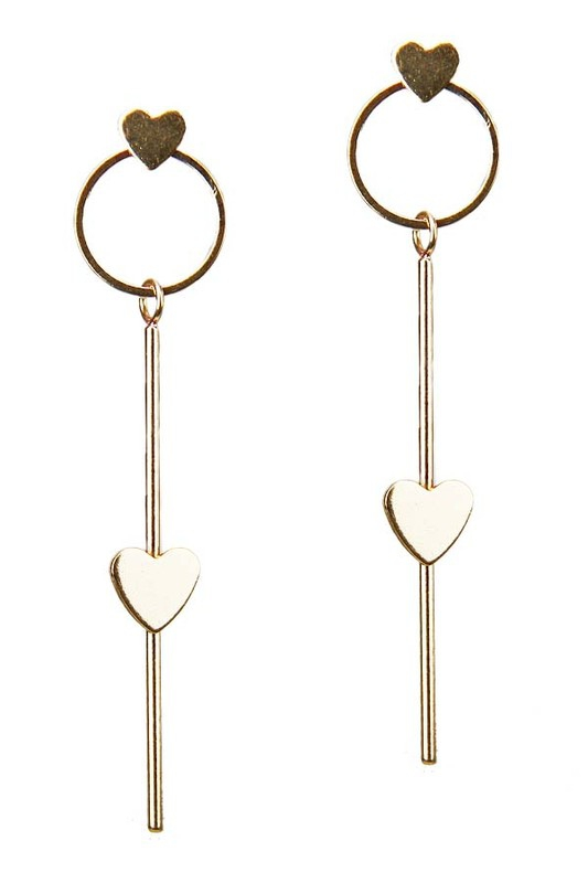 Heart Bar Dangle Earring - orangeshine.com