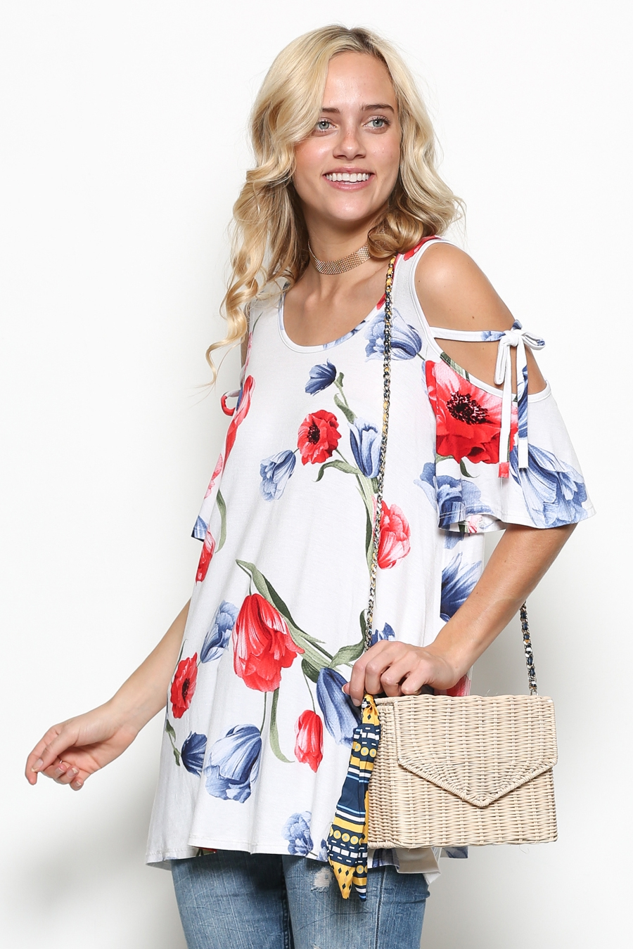 FLORAL COLD SHOULDER TUNIC - orangeshine.com