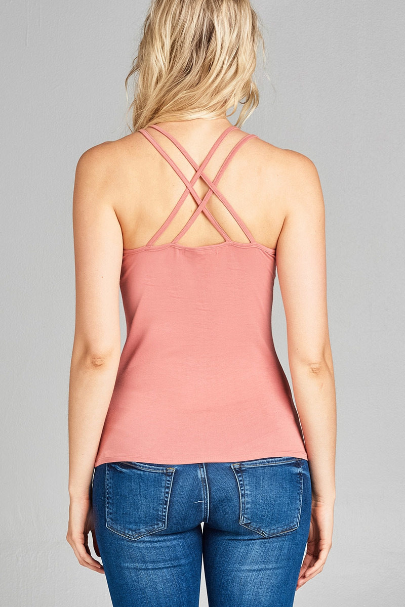 V-NECK DOUBLE STRAP BACK CROSS TANK  - orangeshine.com