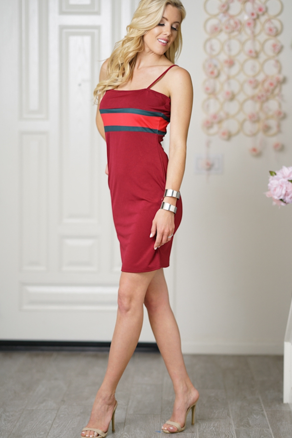 Sleeveless Thin Strap Body Con Dress - orangeshine.com