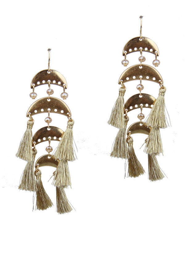 Crescent moon tassel earrings - orangeshine.com