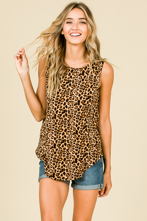 ANIMAL PRINT SLEEVELESS TOP - orangeshine.com