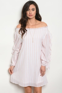 WHITE PINK STRIPES DRESS - orangeshine.com