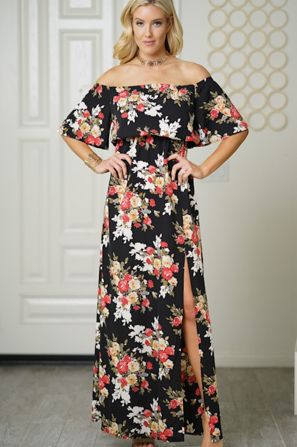 maxi dress ruffles floral print - orangeshine.com