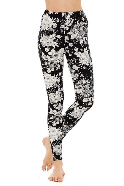 Peach Skin Mix Floral Print Legging - orangeshine.com