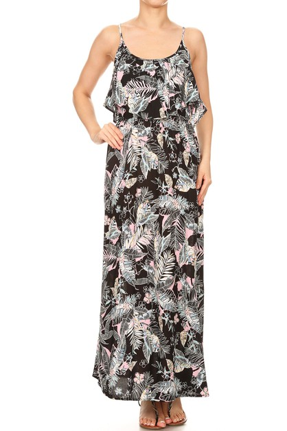 Black Floral Maxi Dresses Tropical  - orangeshine.com