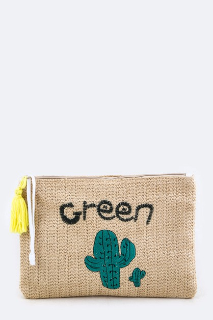 Cactus Embroidery Straw Clutch - orangeshine.com