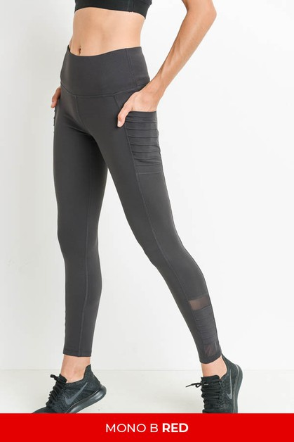 Highwaist Moto Ribbed Full Leggings  - orangeshine.com