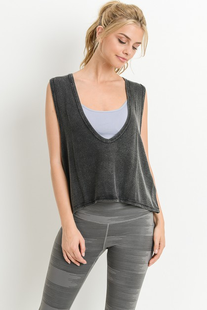Swoop V-Neck Hi-Lo Crop Muscle Tank - orangeshine.com