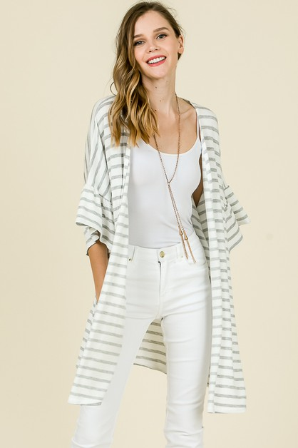STRIPE BELL SLEEVE CARDIGAN - orangeshine.com