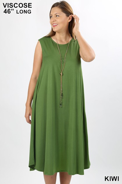 PLUS VISCOSE  ROUND NECK DRESS - orangeshine.com