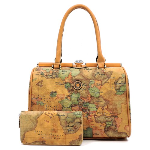 Map Printed 2-in-1 Satchel - orangeshine.com
