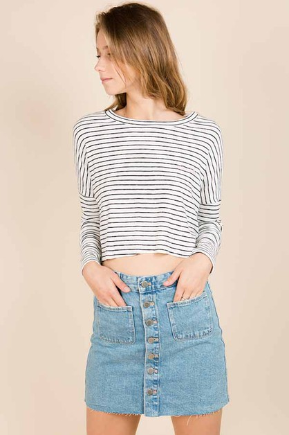 KNIT STRIPE DOLMAN TOP - orangeshine.com